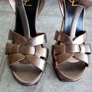 4cb305f09a1 Yves Saint Laurent Shoes - YSL Tribute Blush Metal Platform Sandal Heels 37